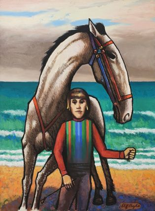 Horse and jockey by the sea. Clifford Bayliss