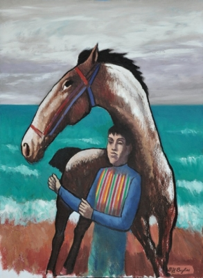 Horse and rider by the sea. Clifford Bayliss