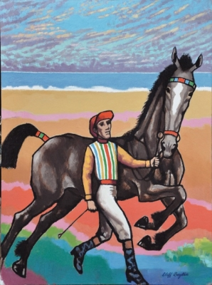 Horse and jockey running by the sea. Clifford Bayliss