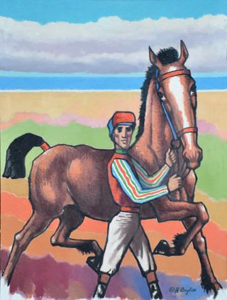 Jockey with horse prancing by the sea. Clifford Bayliss