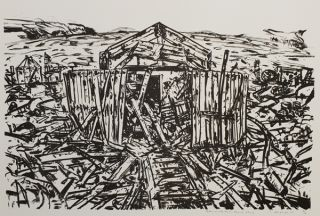 Admiralty Hut, Heard Island 1987. Jan Senbergs
