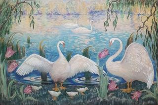 Swans on the Lake. Norman Lloyd