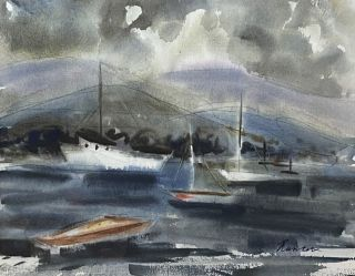 Harbour Scene with Boats at Anchor. Nada Hunter