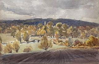 Looking towards the Hills with a Church Tower in the Distance 1911. Albert Henry Fullwood